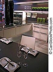 Modern Kitchen - interior in trend design with japanese...