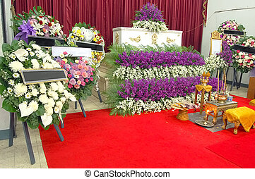 Thai funeral - Coffin and wreaths at a Thai funeral