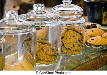 Glass Cookie Jars in a Coffee Shop - Photo of glass cookie...
