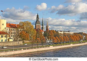 Riga view - The historical center of the Riga city (Latvia,...