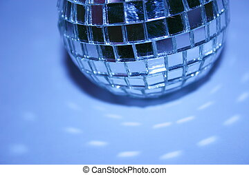 half blue disco ball - half a blue disco ball