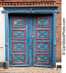 Danish Double Door - A very old red and blue double door in...