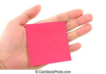 notepaper stick on hand