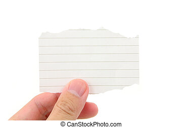 notepaper - hand holding a piece of blank notepaper with...