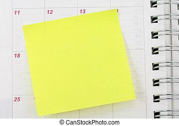 notepaper - blank notepaper sticking on calendar