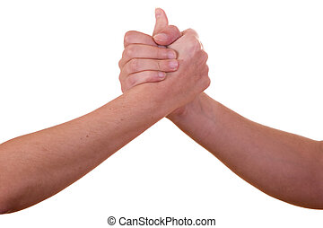 Handshake on white background