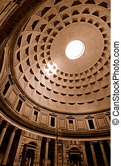 Pantheon - Wide angle view of the Pantheon showing vaulted...