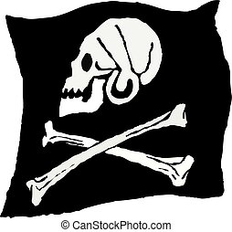 pirate flag - rough sketchy drawing style illustration of a...
