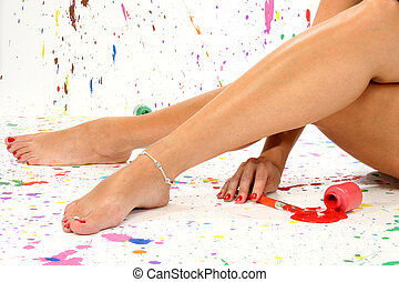 Sexy Legs - Sexy pair of legs in paint in paint splattered...