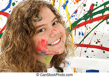 Thirteen Year Old in Paint - Thirteen year old girl playing...