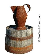 oxidado, cántaro, barril