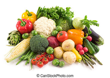 Vegetables - Harvest Fresh vegetables isolated on white