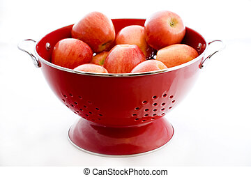 Apples in a Red Colander - Photo of an organically grown...