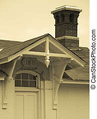 Bodie Island 1871 - Detail of the house at the base of the...