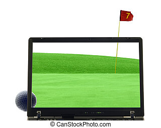laptop isolated with putting green in background - laptop...