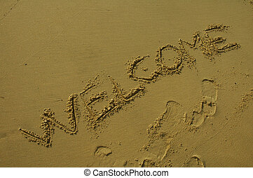 WELCOME... - \\\\\\\'WELCOME\\\\\\\' written in sand, Sydney...