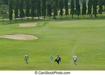 golf, joueurs, marche, vers, vert