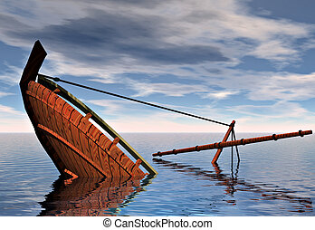 sinking ship - A ship sinking into the ocean. Symbolic of...