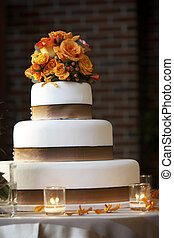 Wedding Cake - a wedding cake lit a little hot bright from...