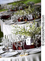 Wedding table - A table setting for a formal dinner or a...