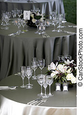 Table setting for a banquet or event - a typical dinner...