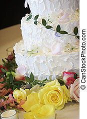 Wedding cake - sweet dessert - A photo of a wedding cake,...