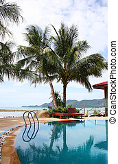 Resort Pool - Luxuary resort pool with coconut plam trees on...