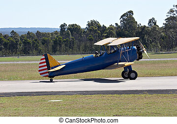 Bi-Plane - Bi-plane on the runway