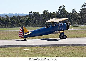 Bi-Plane - Bi-plane on the runway