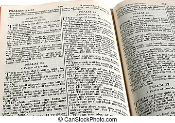 Bible - King James version Bible opened to 23rd Psalm