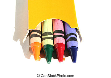 Crayons - Small box of four colored crayons isolated on...