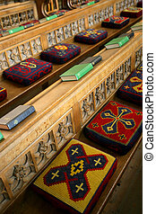 Church pews - Cushioned pews from a church in England Focus...
