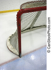 Hockey net - Goal post and net in a hockey arena