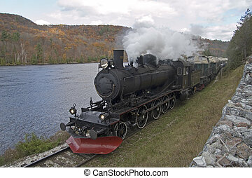 Steam Train - Steam train approaching Wakefield, Qubec.