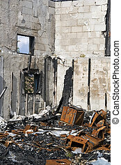 Fire destruction - The remains of a fire that destroyed a...