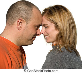 Happy couple - man and woman in love touching
