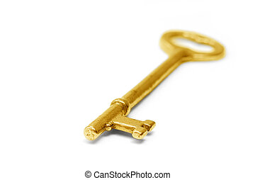 gold key with white background, concept of success