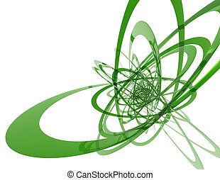 Green strings - 3d rendered abstract illustration