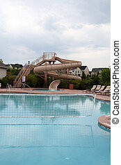 Pool Side with Slide and Volleyball Net