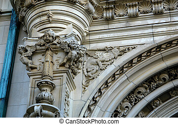 Detail of elaborate mansion - detail of elaborate mansion in...