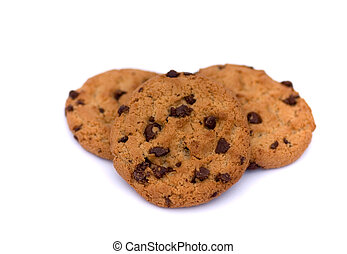 Chocolate Chip Cookies - Three Chocolate Chip Cookies on a...