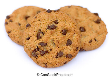 Cookie Close Up - Chocolate Chip Cookies on a white...