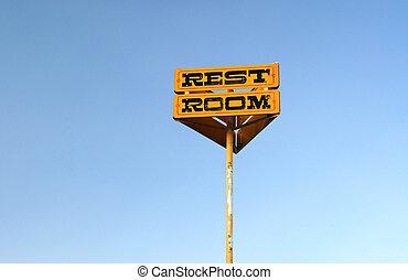 Restroom - Photo of old restroom sign at state park