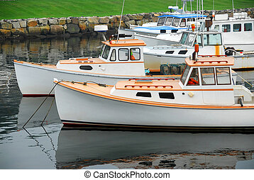 Fishing boats in harbor - Fishing boats in a harbor in...