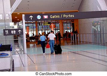 People gate airport - People walking towards gates at modern...