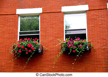 Boston house fragment - Fragment of a red brick house in...
