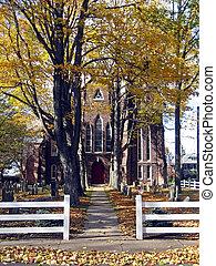 Church Facade in Autumn
