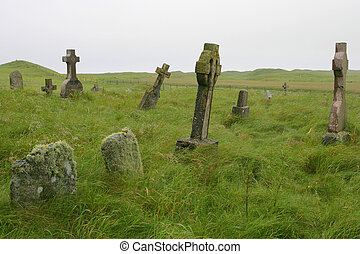 Scottish graveyard - Old Scottish graveyard in South Uist,...