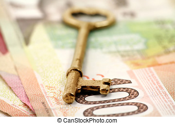 gold key and canadian dollars, concept of success