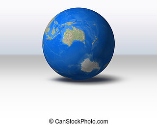 World Globe with shadow and background Australia view